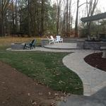 Backyard Firepit with upper and lower seating area.  East Granby, CT.