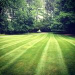 Mowing striaght lines.  Simsbury, CT.  2013